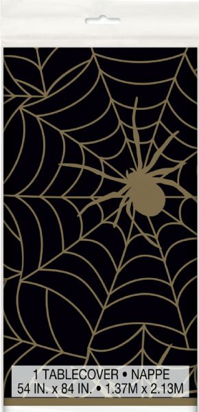 Black & Gold spider Web Plastic Tablecover